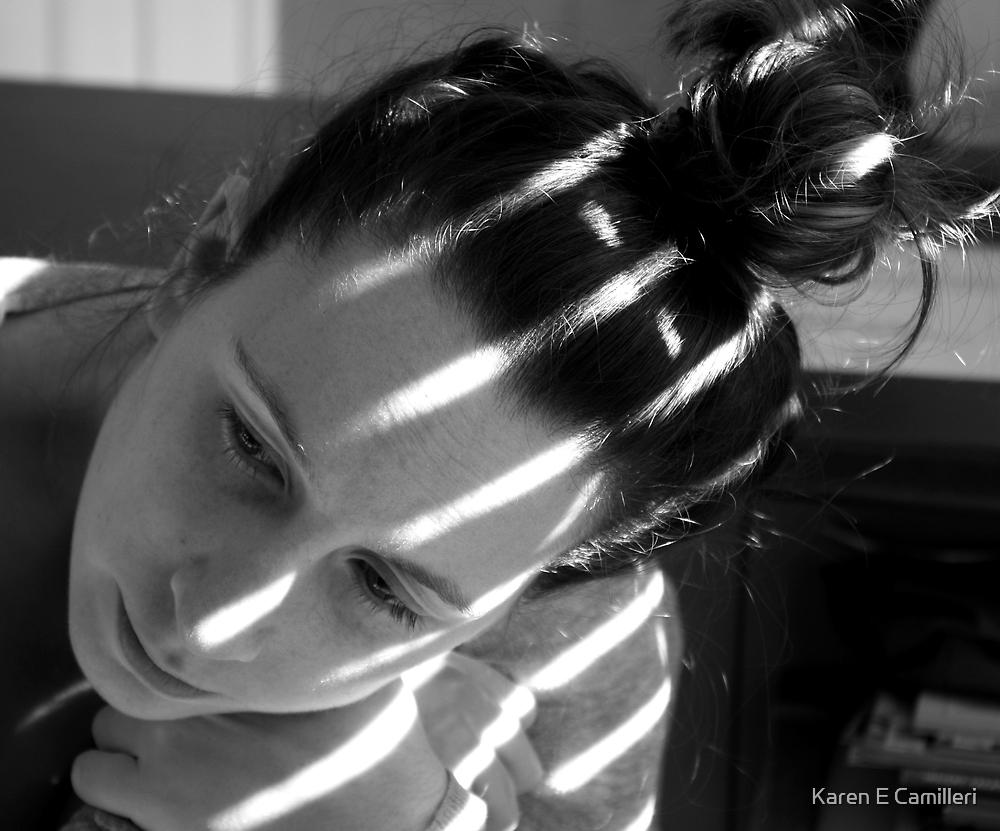 pensive in stripes by Karen E Camilleri