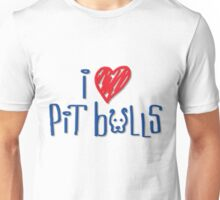 I Love Pit Bulls (Light Colors) Unisex T-Shirt