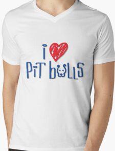 I Love Pit Bulls (Light Colors) Mens V-Neck T-Shirt