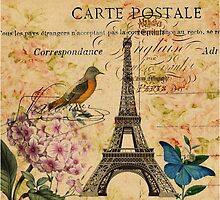 vintage eiffel tower floral bird butterfly fashion by lfang77
