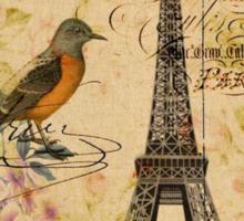 vintage eiffel tower floral bird butterfly fashion Sticker
