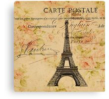 vintage floral retro  paris eiffel tower Canvas Print