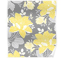 Yellow Grey Flowers Pattern Poster