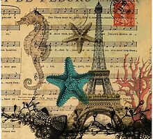 music notes ocean seashells vintage eiffel tower  by lfang77
