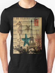 music notes ocean seashells vintage eiffel tower  Unisex T-Shirt