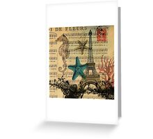 music notes ocean seashells vintage eiffel tower  Greeting Card