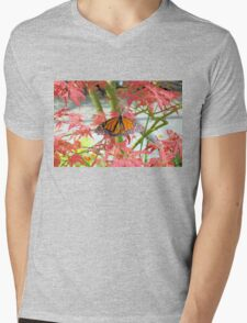 Monarch Among The Red Leaves Mens V-Neck T-Shirt