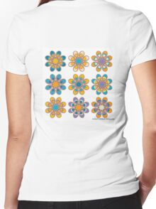 Ocean Sunset Foot Flowers Women's Fitted V-Neck T-Shirt