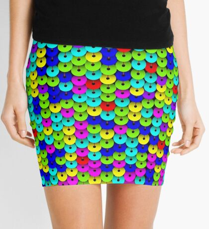 Multi-colored Sequins Seamless Pattern Mini Skirt