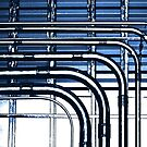 Industrial Pipes High Contrast in Blue Tones by Buckwhite