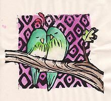 Green birds by RabbitMcComb