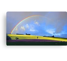Rainbow Over The Fields  Canvas Print