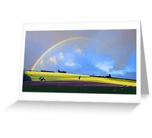 Rainbow Over The Fields  Greeting Card