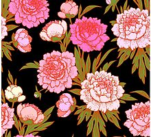 Pink peonies seamless рattern. by Laces
