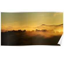 morning mists in the mountain Poster