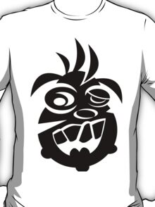 Awesome Crazy Dog Face (Black) T-Shirt