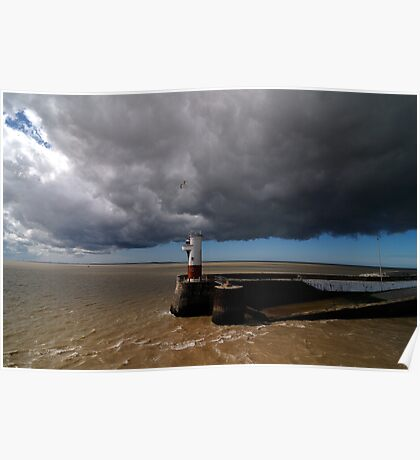 storm over  a lighthouse Poster