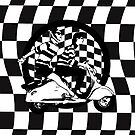 Retro scooter couple on checks by Auslandesign