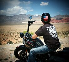 Enjoying the view from his Harley....Las Vegas by Rita  H. Ireland