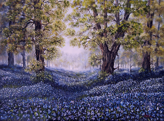 """Mary's Bluebells"" - oil painting by Avril Brand"