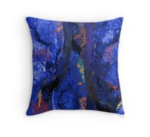 Abstract Trees, Moss and Branches in Blues With Accents of Other Colors Throw Pillow