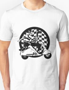 Black and white check fifties scooter couple T-Shirt