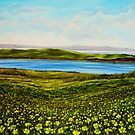 """Buttercups - view of Hog Island"" - oil painting by Avril Brand"
