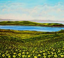 """""""Buttercups - view of Hog Island"""" - oil painting by Avril Brand"""