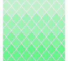 Trendy chic turquoise classic Quatrefoil Pattern Photographic Print