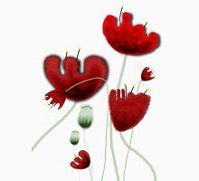 Poppy red granate sexy landscape summer france bloom garden t-shirt Long Sleeve T-Shirt