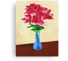 Vase of Red Flowers Canvas Print