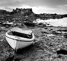 White boat at low tide, Jersey by Gary Heald LRPS