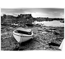 White boat at low tide, Jersey Poster