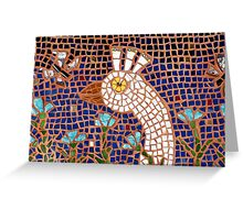 White Peacock in the Night Garden Mosaic Greeting Card