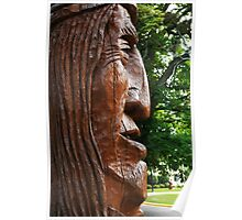 Indian Head Wood Carving Poster