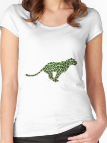 Leopard Black and Green Print Women's Fitted Scoop T-Shirt