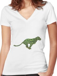 Leopard Black and Green Print Women's Fitted V-Neck T-Shirt