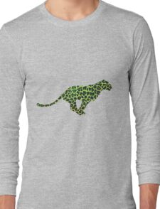 Leopard Black and Green Print Long Sleeve T-Shirt