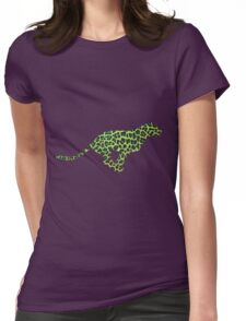 Leopard Black and Green Print Womens Fitted T-Shirt