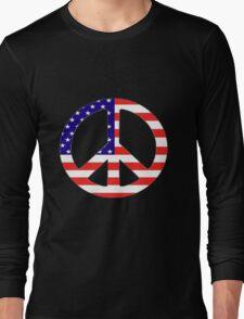 American Flag Peace Symbol Long Sleeve T-Shirt