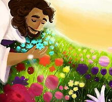 Easter Ressurection Day - Jesus in field of flowers by unicorndoodles