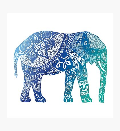 Blue Elephant Photographic Print