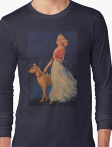 Vintage Picture- Elegant woman with her Dog Long Sleeve T-Shirt
