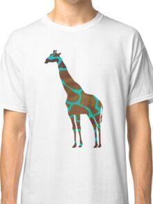 Giraffe Brown and Teal Print Classic T-Shirt