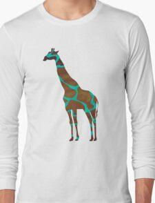 Giraffe Brown and Teal Print Long Sleeve T-Shirt