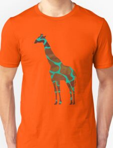Giraffe Brown and Teal Print T-Shirt