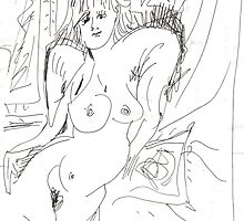 NUDE ON RED COUCH(2010)(ORIGINAL DRAWING - INK PEN)(C2007) by Paul Romanowski