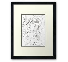 NUDE ON RED COUCH(2010)(ORIGINAL DRAWING - INK PEN)(C2007) Framed Print
