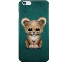 Cute Baby Lion Cub on Teal Blue iPhone Case/Skin