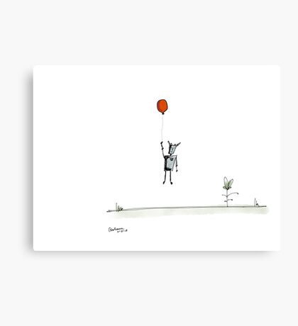 Sad Robot: Red Balloon Canvas Print